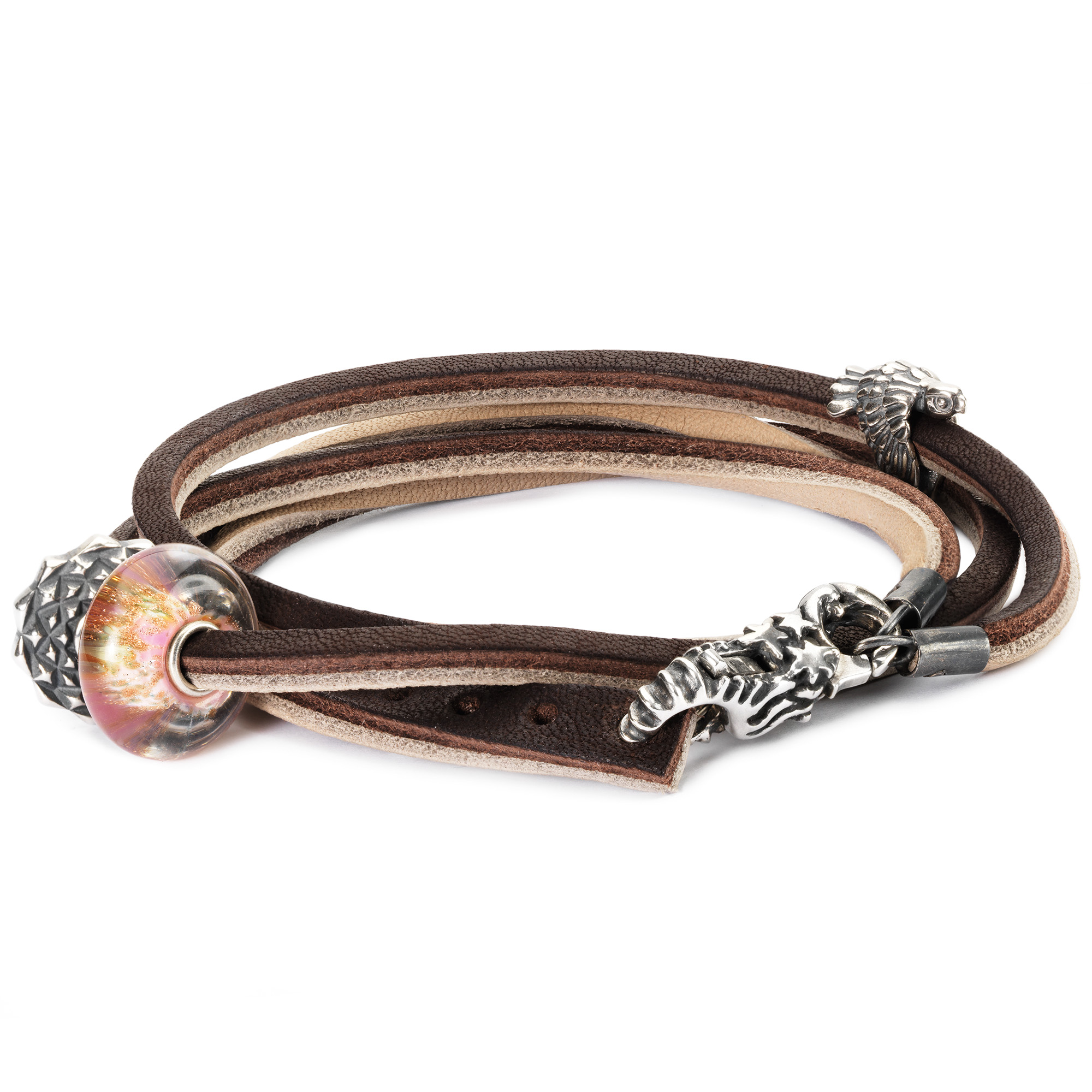 Leather Bracelet, Brown, Light Grey with Charms www.trollbeads.com