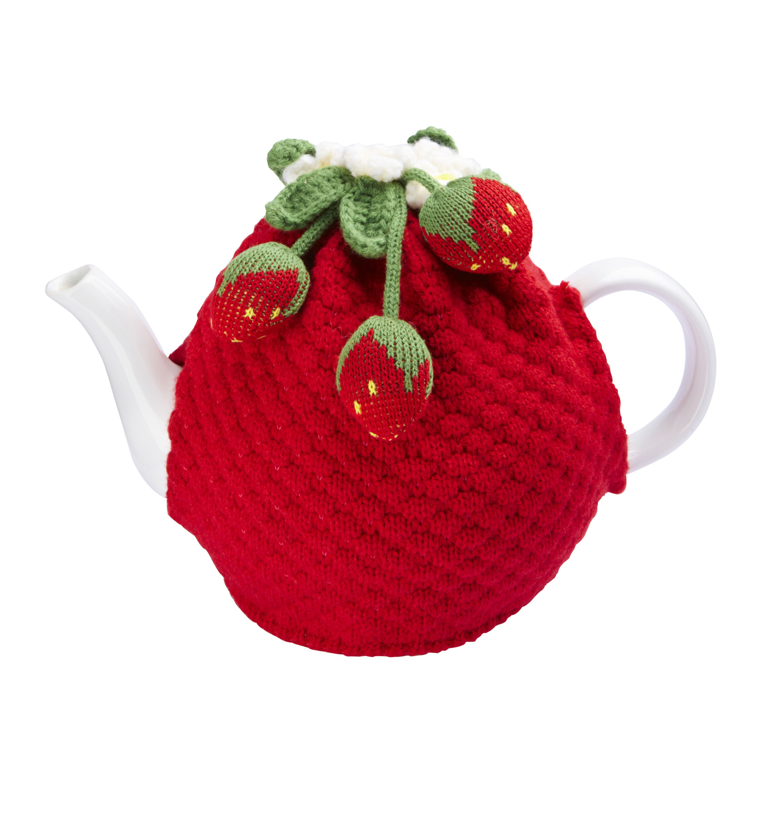 Knitted Strawberry Teacosy £20.00 www.iwmshop.org.uk